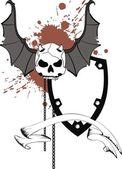 Cranio bat Ali adesivo tattoo2 — Vettoriale Stock