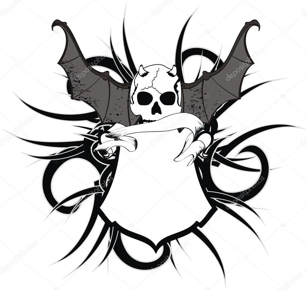 在矢量格式很容易编辑的头骨蝙蝠翅膀贴纸纹身— vector by hayashi