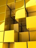 3d zlaté kostky — Stock fotografie