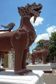 Singha lion statues twin — Stock Photo