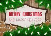 Christmas wish card vector illustration — Stock Photo