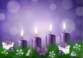 Christmas wish card purple — Stock Vector