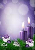 Púrpura de tarjeta de Navidad deseo — Vector de stock