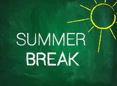 Summer break written text on green chalkboard — Stock Vector