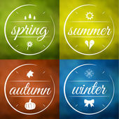 Set of four seasons vector labels — Stock Vector