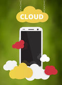 Cloud service with cellphone — Stock Vector