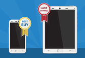 Cellphone and tablet with best buy tag — Stok Vektör