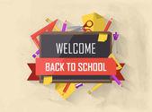 Terug naar school vectorillustratie met leveringen — Stockvector