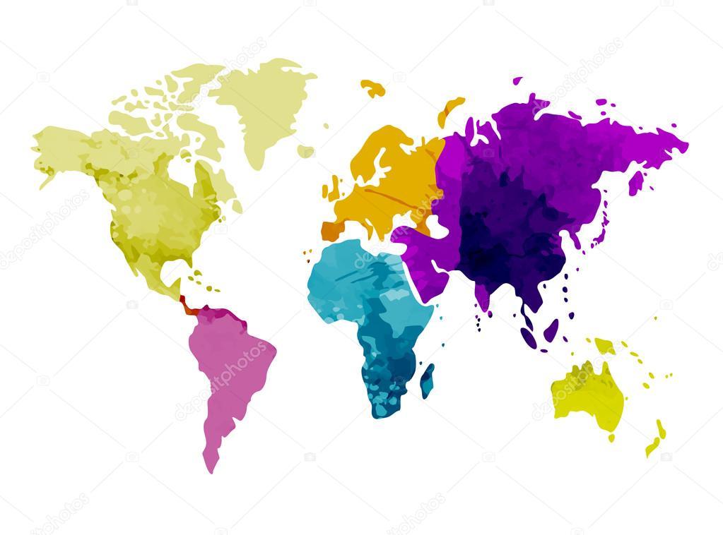 世界地图大洲水彩背景矢量图– 图库插图