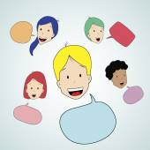 Teen talking with speak bubble — Stock Vector