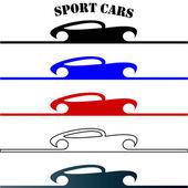 Sport cars hand drawn logo — Stock Vector