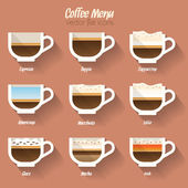 Coffee menu icon set — Stock Vector