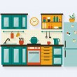 Kitchen with furniture — Stock Vector #56924631