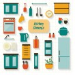 Kitchen utensils and furniture icons set — Stock Vector #56924659