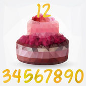 Geometric birthday cake with numbers. — Stock Vector