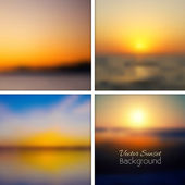 Sunset blurred background set. — Stock Vector