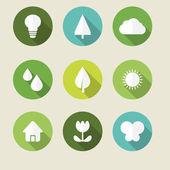 Ensemble d'icônes de l'écologie — Vecteur