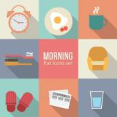 Morning time icons set. — Stock Vector