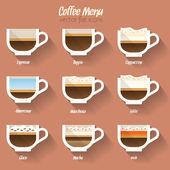 Coffee menu icon set. — Stock Vector