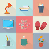 Home workplace icons set — ストックベクタ