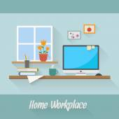 Design illustration of home workplace — Stock Vector