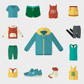 Sport clothing icons set. — Stockvector