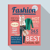 Fashion magazine with casual clothing — Stock Vector