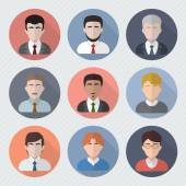 Different male faces in circle icons. — Stock Vector