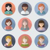 Different female faces in circle icons — Stock Vector