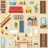Furniture set for rooms of house — Stock Vector