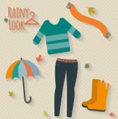 Casual rainy autumn day look — Stock Vector