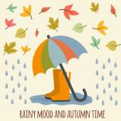 Umbrella, rubber boots and autumn leaves. — Stock Vector