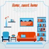 Living room card design. — Wektor stockowy
