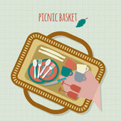 Basket picnic with dishes and cutlery — Stock Vector