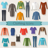 Woman clothing icon set. — Stock Vector