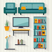 Living room with furniture — Stock Vector