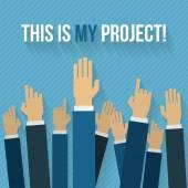 Hands up office workers. — Vector de stock
