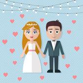 Wedding couple in flat style — Stock Vector