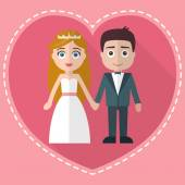 Wedding couple in heart — Stock Vector
