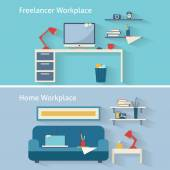 Home workplace in flat design — ストックベクタ