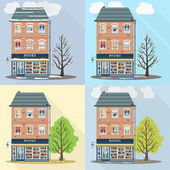 Retro house in four seasons — Stock Vector