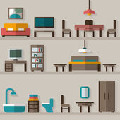 Furniture icon set for rooms of house — Stok Vektör