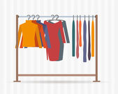 Clothes racks with dresses on hangers — Stock Vector