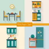 Kitchen set with furniture — Stock Vector