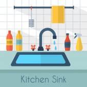 Kitchen sink with kitchenware — Stock Vector