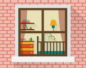 Baby room with furniture through window — 图库矢量图片