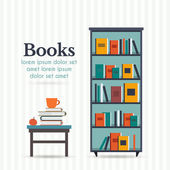 Book shelf and table with books — Stock Vector
