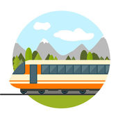 Train on railway with forest and mountains — Stock Vector