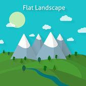 Paesaggi di boschi e montagne — Vettoriale Stock