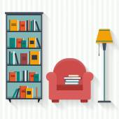 Book shelf and chair with lamp — Stock Vector